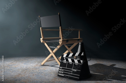 Fotografie, Obraz  Director Chair, Movie Clapper and Megaphone in the volumetric li
