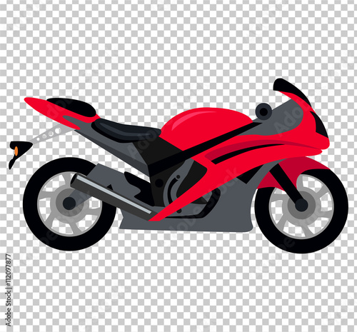Poster Motocyclette Cool Motorcycle Isolated on White Background