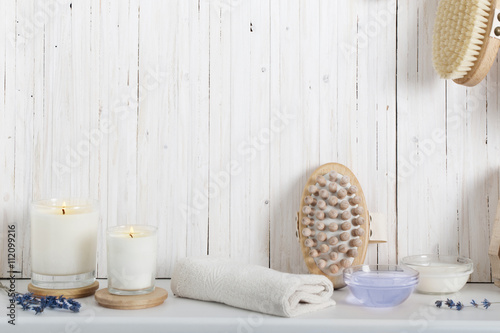 Photo  spa composition on white wooden background