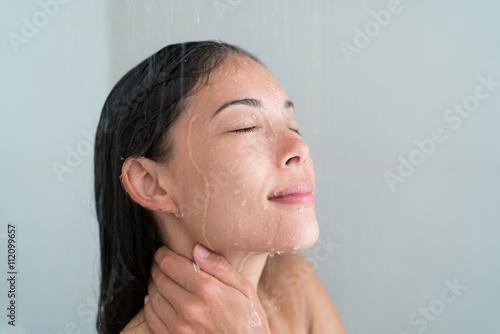 Asian woman in shower