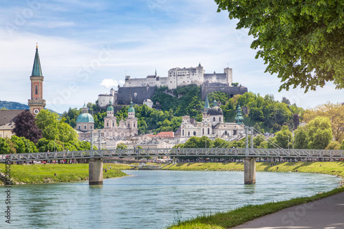 Fényképezés  Salzburg Stadt with Salzach river and Hohensalzburg Castle, Salzburg, Austria