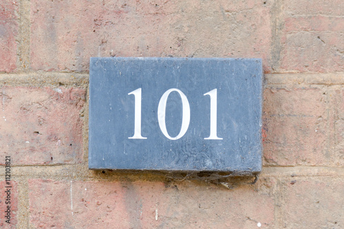 Photo  House Number 101 sign