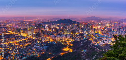 Photo sur Aluminium Seoul Korea,Panorama of Seoul City Skyline , South Korea