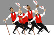 Quartet of singers in barbershop genre singing and dancing, EPS 8 vector illustration, no transparencies