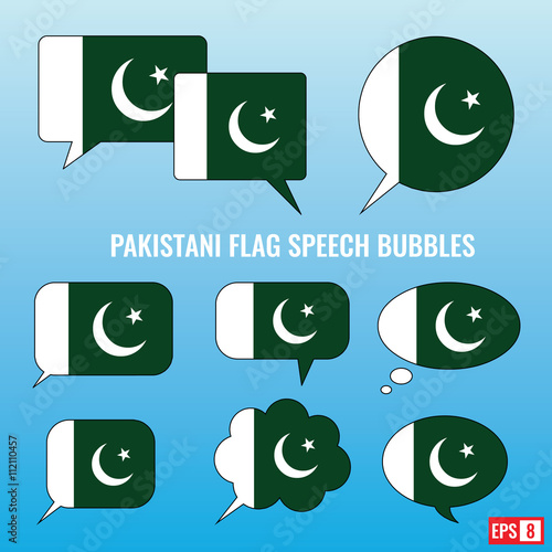 Pakistani Flag Speech Bubbles - Buy this stock vector and explore