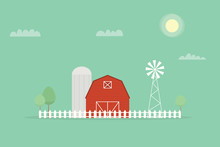 Red Farm, Windmill And Silos