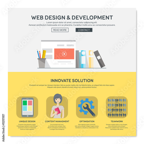 One Page Web Design Template With Web Design Services Like Content Managment Or Optimisation Flat Design Graphic Website Elements Layout Vector Illustration Buy This Stock Vector And Explore Similar Vectors At