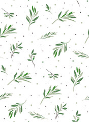 Nice seamless pattern with plants. Natural leaves olives for decoration and ornaments paper. The pattern on the fabric or wallpaper.