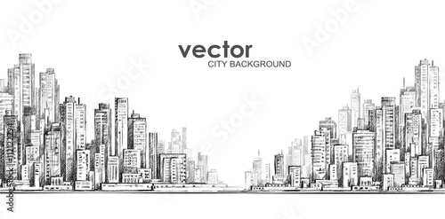 Cityscape, hand drawn vector sketch