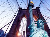 Liberty Statue and Brooklyn bridge New York - 112134076