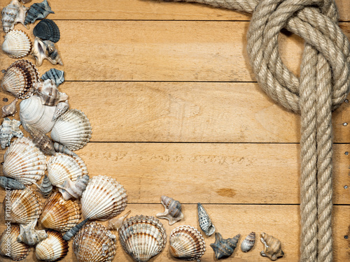 Fotografija  Rope and Seashells on Wooden Background