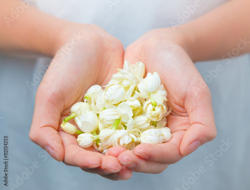 Photographie Asian woman hands holding white jasmine flowers