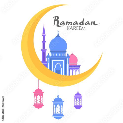 Ramadan kareem greeting arabic calligraphy with mosque moon and ramadan kareem greeting arabic calligraphy with mosque moon and lanterns isolated islam color flat m4hsunfo