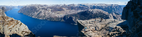 View at Preikestolen, Pulpit Rock, Lysefjorden, Norway. Famous tourist attraction.