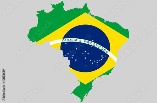 Vector Federative Republic Of Brazil Topographic Map Brazil Flag On