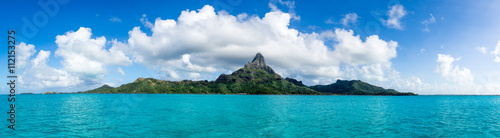 Deurstickers Eiland Mont Otemanu des Bora Bora Atolls in Französisch Polynesien