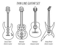 Guitar Outline Icons. Vector Thin Line Guitar Set
