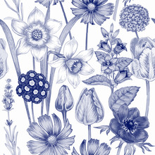 Flower Seamless Pattern With G...
