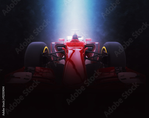 Red formula one car - epic lighting - 3D Illustration Poster
