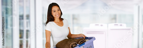 Fotografie, Obraz  Woman Doing Laundry