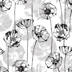 FototapetaMonochrome seamless pattern with poppies. Hand-drawn floral background.