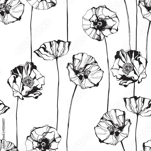 Czarno-biały wzór z maku. Ręcznie rysowane tła kwiatu.