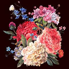 FototapetaVintage floral watercolor bouquet of peonies and wild flowers