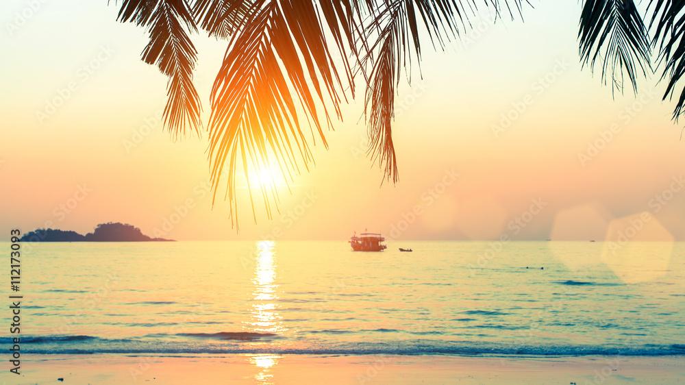Fototapety, obrazy: Sunset at tropical sea coast.
