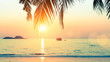 canvas print picture - Sunset at tropical sea coast.
