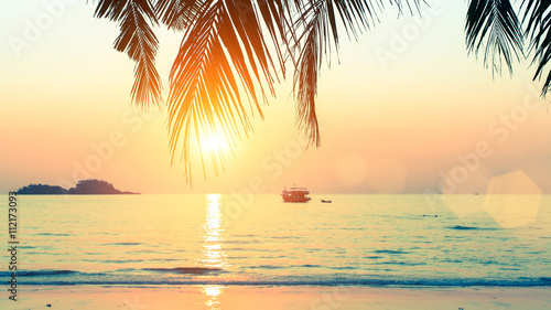 Canvas Prints Beach Sunset at tropical sea coast.