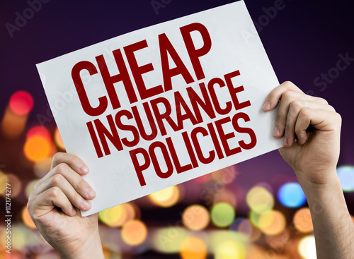 Fotografía  Cheap Insurance Policies placard with night lights on background