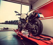 New Sport Motorcycle In A Gara...