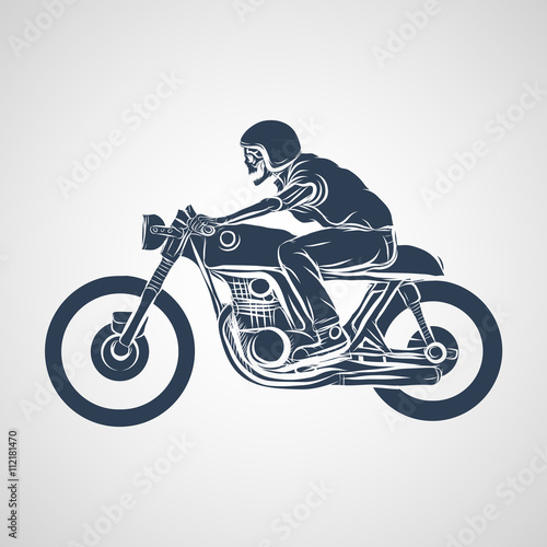 Photographie skull ride a classic cafe racer motorcycle