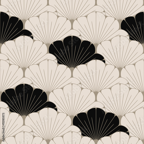 Fotografia  a Japanese style seamless tile with exotic foliage pattern in soft brown and bla