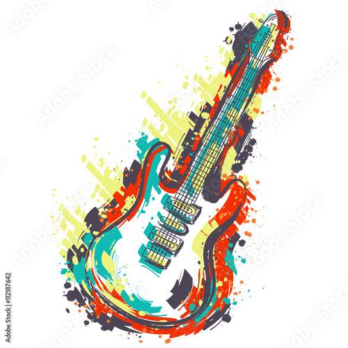 Obraz premium Gitara elektryczna. Ręcznie rysowane sztuki w stylu grunge. Retro transparent, karta, koszulka, torba, druk, poster.Vintage kolorowe ręcznie rysowane ilustracji wektorowych