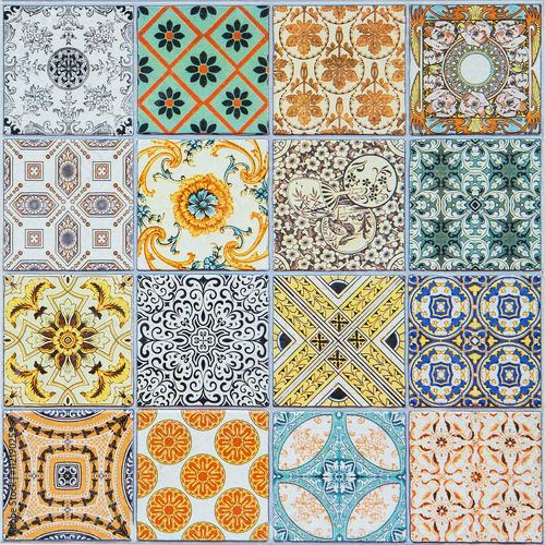 Fototapeta do kuchni ceramic tiles patterns from Portugal.