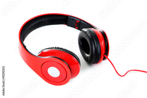 Fényképezés  Headphones isolated on a white, close up