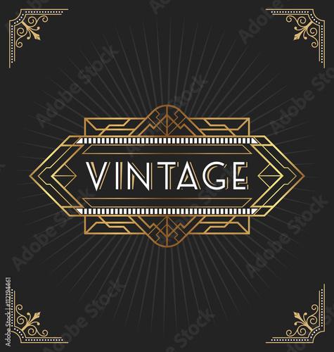 Vintage Art Deco Frame For Decorative Design Invitation Banner
