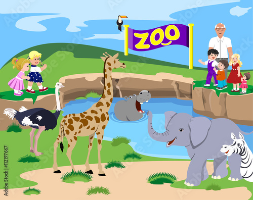 Kids At The Zoo. Vector illustration