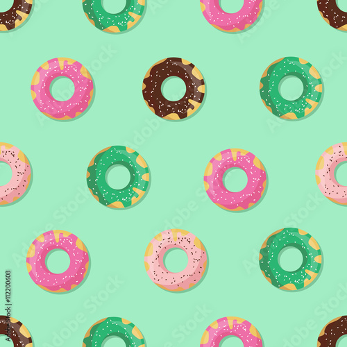 Cotton fabric Seamless doughnut or donut pattern. Design for cards, menu, textile, fabric. Glazed sweets with chocolate, vanilla, strawberry and mint cream