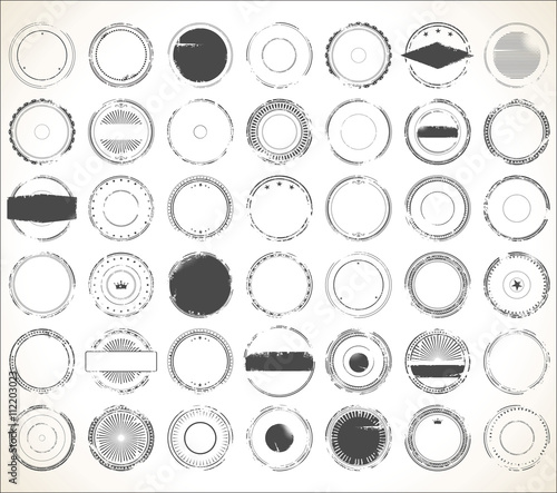 Fotomural  Empty grunge rubber stamp collection