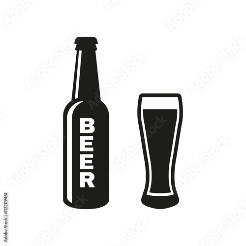 Bottle and glass of beer icon Poster