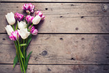 Fototapeta Tulipany - Bright  violet and white tulips flowers on aged wooden  backgrou