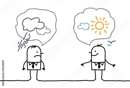 Fotografia  cartoon businessmen - optimistic and pessimistic