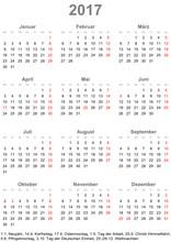 Einfacher Kalender 2017 Mit Gesetzlichen Feiertagen Für Deutschland