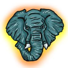 African Elephant Stylized Illustration Portrait