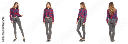 Fotografía  Beautiful young girl in fashionable jeans isolated
