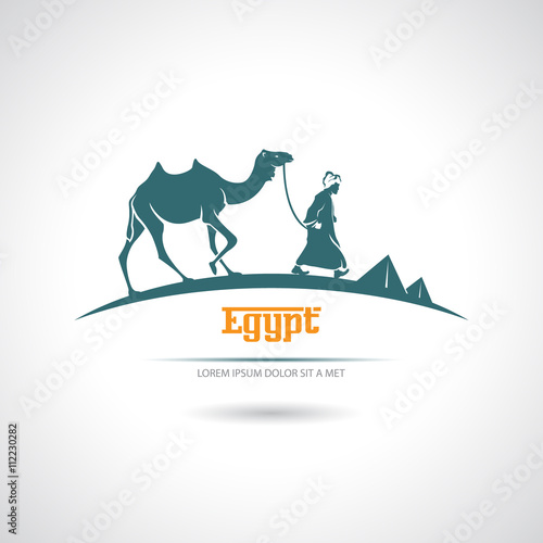 Fotografering  Icon with a camel driver and camel. Egypt.