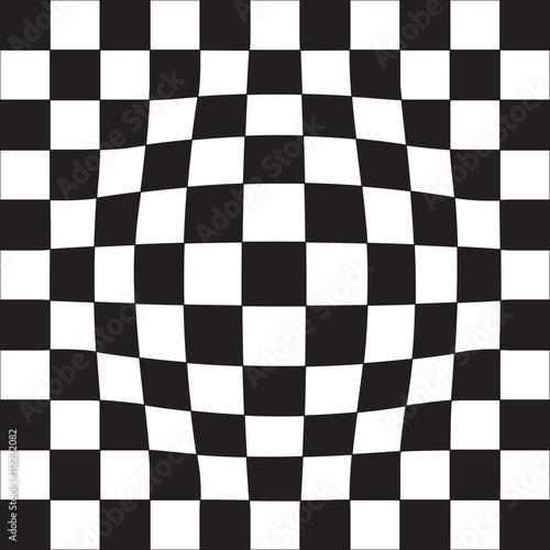 Zdjęcie XXL Złudzenie iluzji geometrycznej. Szachownica, czarne i białe komórki.