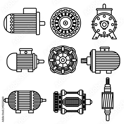 Photo  Electric motor vector icons